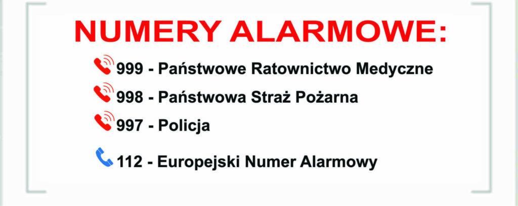 Zdjęcie prezentuje numery alarmowe. 999 Państwowe Ratownictwo Medyczne. 997 Policja. 998 Straż Pożarna. 112 Europejski numer alarmowy